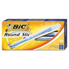 BIC Round Stic Medium Point Pen (12-Pack) Blue
